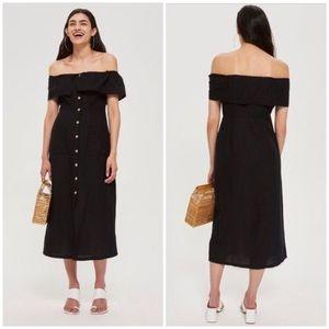 linen off shoulder dress